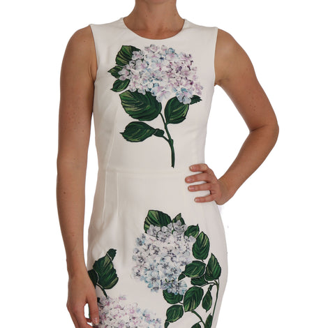 Dolce & Gabbana White Stretch Ortensia Sheath Dress