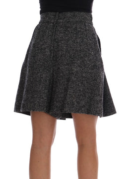 Dolce & Gabbana Gray A-Line Above Knee Wool Tweed Skirt