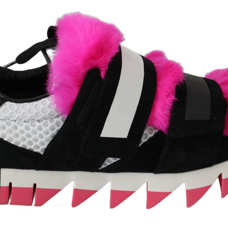 Dolce & Gabbana Black Leather Pink Fur Shoes Sneakers