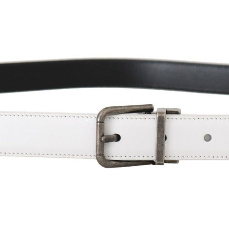 Dolce & Gabbana White Leather Brushed Buckle Mens Belt