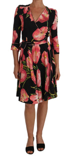 Dolce & Gabbana Black Pink Tulip Print Stretch Shift Dress - Women - Apparel - Dresses - Casual - Dolce & Gabbana | Gethuda Fashion
