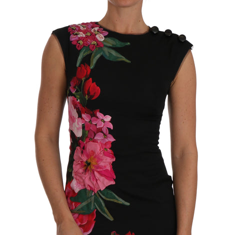 Dolce & Gabbana Black Floral Appliqe Sheath Silk Dress - Women - Apparel - Dresses - Casual - Dolce & Gabbana | Gethuda Fashion