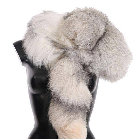 Dolce & Gabbana Fox Tail Fur Shawl Neck Wrap Cover White Gray Collar Scarf - Women - Accessories - Scarves - Dolce & Gabbana | Gethuda Fashion