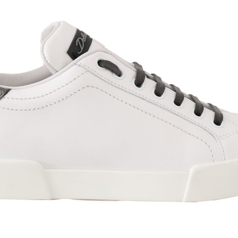 Dolce & Gabbana White Leather DG Pearl Logo Sneakers