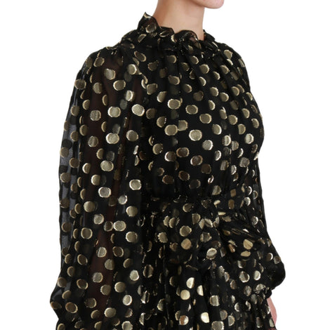 Black Gold Lurex Polka Dots Silk Flared Dress