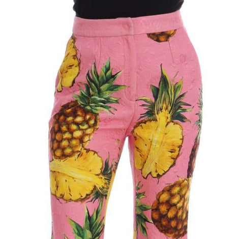 Dolce & Gabbana Multicolor Pineapple Jacquard Flare Pants