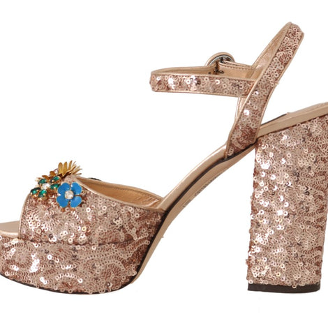 Dolce & Gabbana Pink Gold Sequin Crystal Sandal - Women - Shoes - Sandals - Dolce & Gabbana | Gethuda Fashion