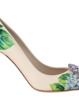 Dolce & Gabbana Leather Hortensia Crystal Pumps