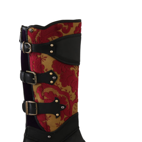 Dolce & Gabbana Black Leather Brocade Studded Boots