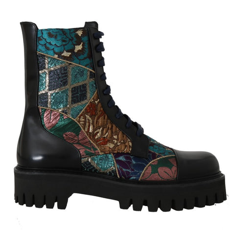 Dolce & Gabbana Black Blue Leather Floral Ankle Boots -  - Dolce & Gabbana | Gethuda Fashion
