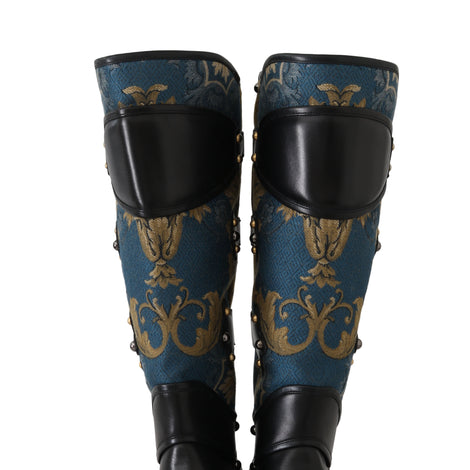 Dolce & Gabbana Shoes Black Blue Leather Brocade Stud Boots