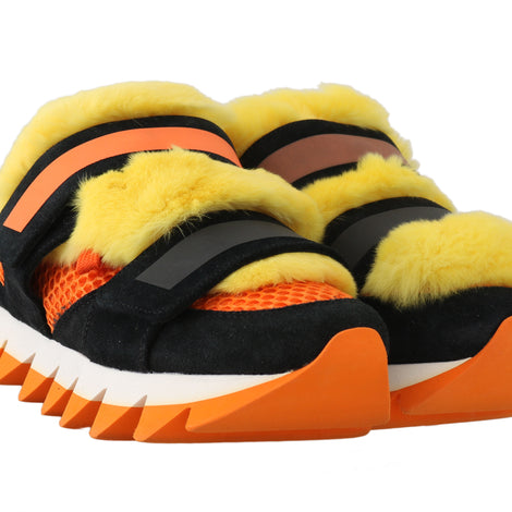 Dolce & Gabbana Orange Leather Yellow Fur Sneakers