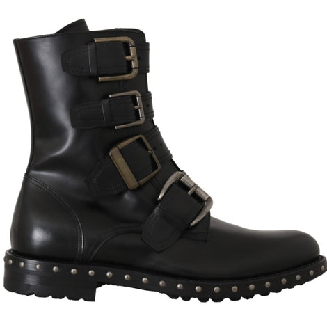 Dolce & Gabbana Black Leather Biker Ankle Boots -  - Dolce & Gabbana | Gethuda Fashion