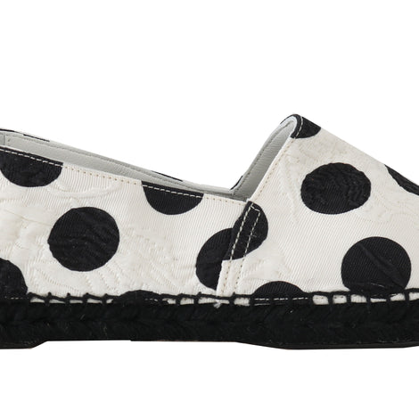 Dolce & Gabbana White Polka Dot Espadrille Brocade Shoes