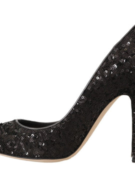 Dolce & Gabbana Black Sequined Leather Pumps Heels