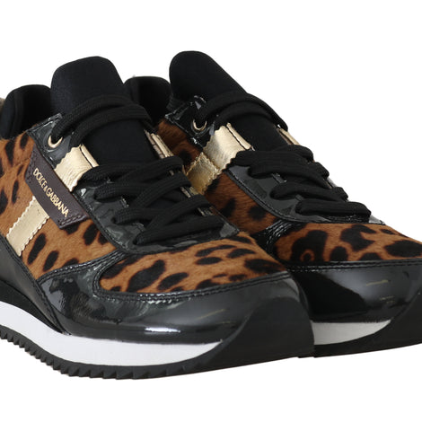 Dolce & Gabbana Leather Black Leopard Sneakers