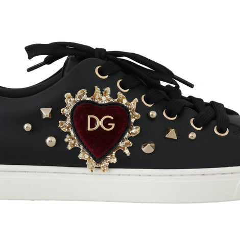 Dolce & Gabbana Black Leather Gold Red Heart Sneakers