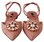 Pink Suede Crystal Flat Sandals Shoes