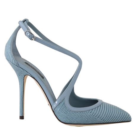 Dolce & Gabbana Blue Leather Iguana Pattern Sandals - Women - Shoes - Sandals - Dolce & Gabbana | Gethuda Fashion