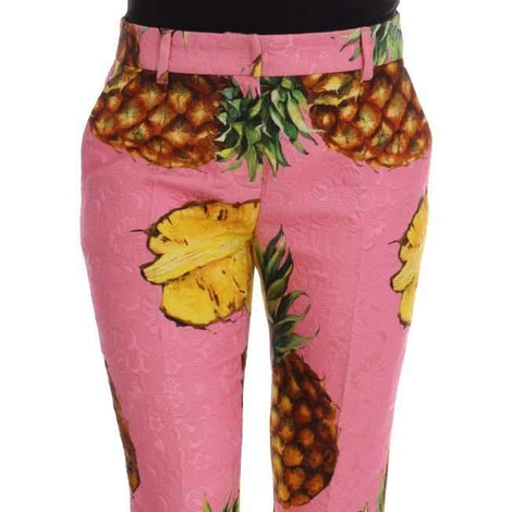 Dolce & Gabbana Multicolor Pineapple Jacquard Print Pants