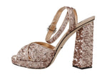 Gold Leather Sequined Crystal Sandals - Women - Shoes - Sandals - Dolce & Gabbana | Gethuda Fashion