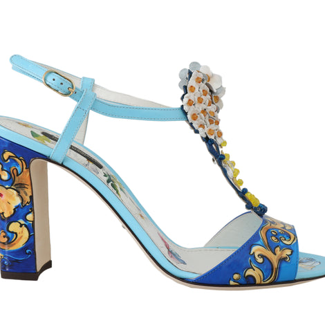 Dolce & Gabbana Blue Leather Majolica Crystal Sandals