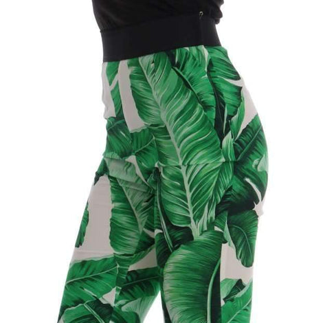 Dolce & Gabbana Green Banana Leaf Stretch Flare Pants