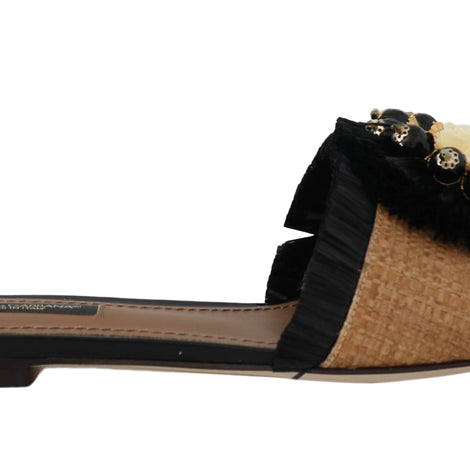 Dolce & Gabbana Black Brown Straw Crystal Flip Flops - Women - Shoes - Flats - Dolce & Gabbana | Gethuda Fashion