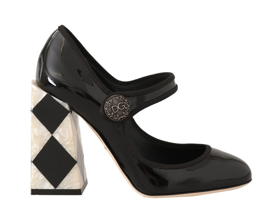 Dolce & Gabbana Black Leather Square Heels Pumps - Women - Shoes - Pumps - Dolce & Gabbana | Gethuda Fashion