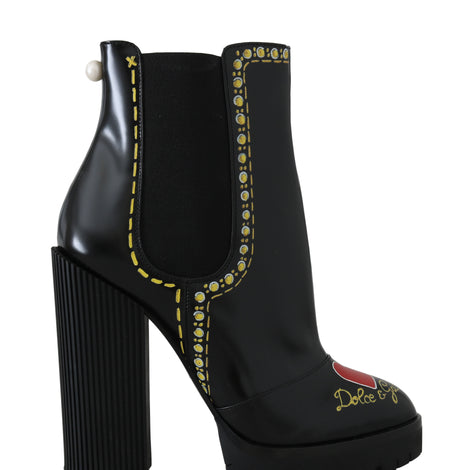Dolce & Gabbana Black Leather Chelsea Heart Boots -  - Dolce & Gabbana | Gethuda Fashion