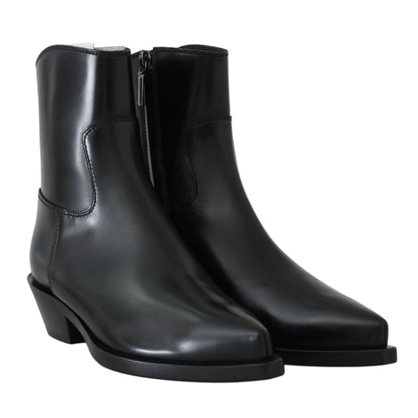 Dolce & Gabbana Black Leather Ankle Boots -  - Dolce & Gabbana | Gethuda Fashion