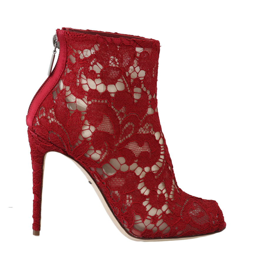 Dolce & Gabbana Red Leather Cotton Lace Ankle Booties - Women - Shoes - Sandals - Dolce & Gabbana | Gethuda Fashion