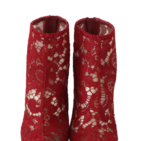 Dolce & Gabbana Red Leather Cotton Lace Ankle Booties