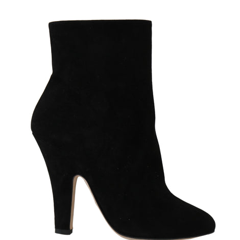 Dolce & Gabbana Black Suede Heels Zipper Boots - Women - Shoes - Pumps - Dolce & Gabbana | Gethuda Fashion
