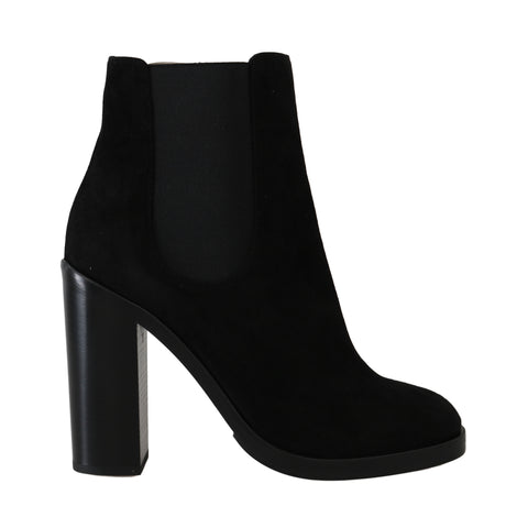 Dolce & Gabbana Black Leather Chelsea Heels Boots -  - Dolce & Gabbana | Gethuda Fashion