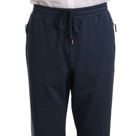 Dolce & Gabbana Blue Cotton Crown Logo Sweatpants