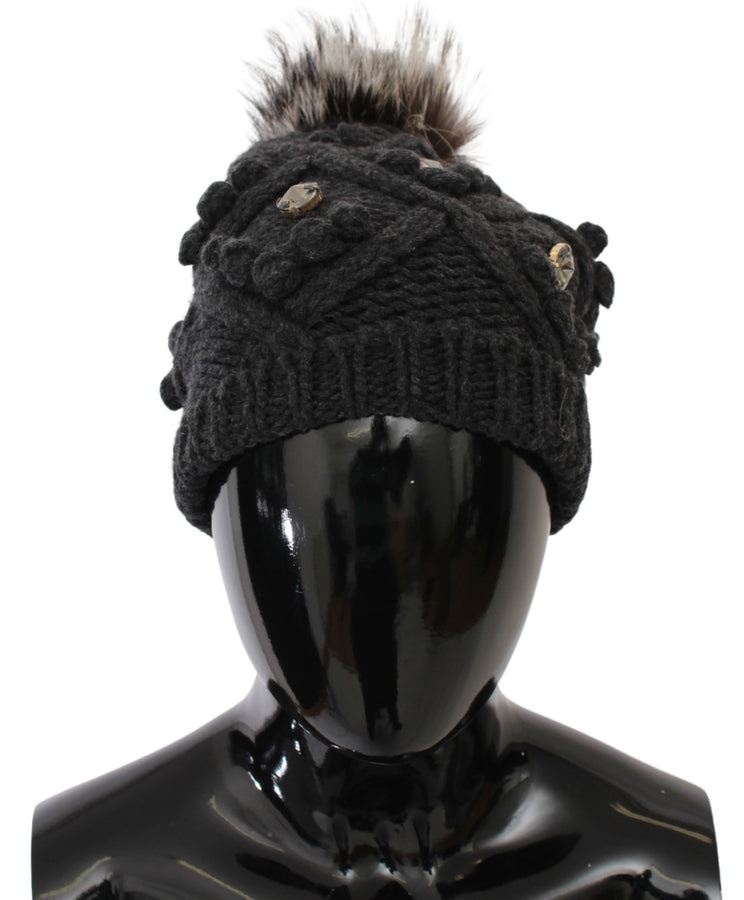 Gray Cashmere Fur Crystal Winter Beanie Hat
