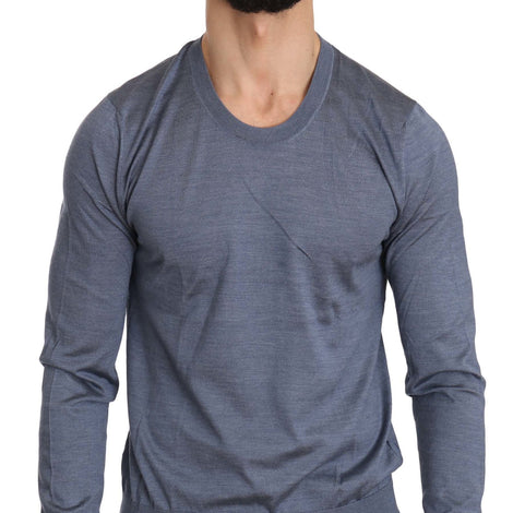 Dolce & Gabbana Blue Long Sleeve Pullover Silk Sweater - Men - Apparel - Sweaters - Pull Over - Dolce & Gabbana | Gethuda Fashion