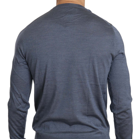 Dolce & Gabbana Blue Long Sleeve Pullover Silk Sweater