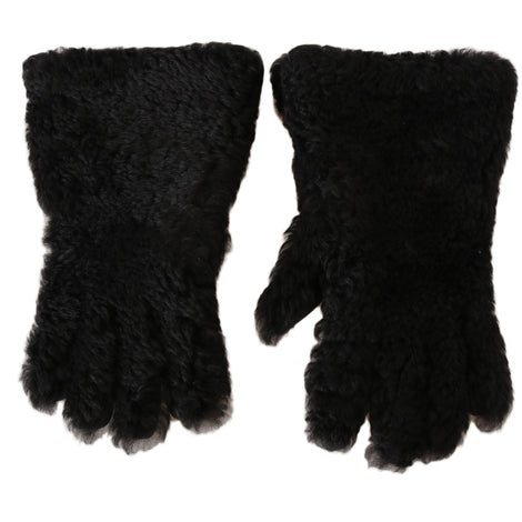 Dolce & Gabbana Black Deerskin Lapin Lamb Fur Warm Gloves - Men - Accessories - Gloves - Dolce & Gabbana | Gethuda Fashion