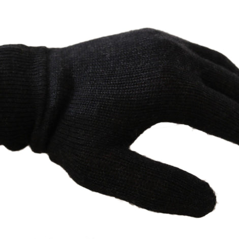 Dolce & Gabbana Gray 100% Wool Knitted Crown Logo Wrist Gloves