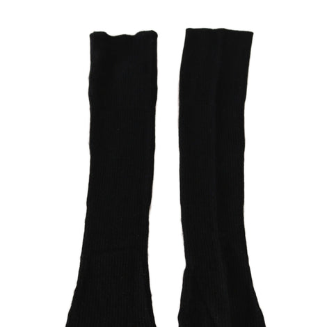 Dolce & Gabbana Black Cashmere Knitted Pattern Elbow Length Gloves