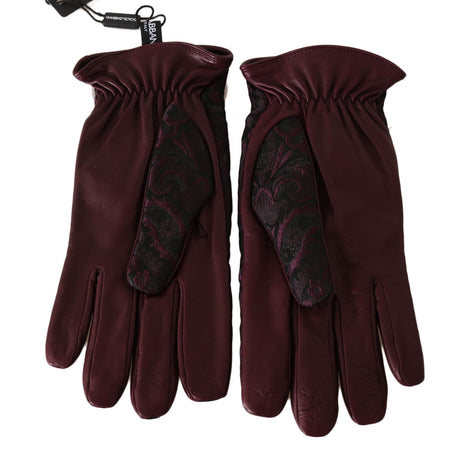 Dolce & Gabbana Purple Black Floral Jacquard Leather Gloves - Men - Accessories - Gloves - Dolce & Gabbana | Gethuda Fashion