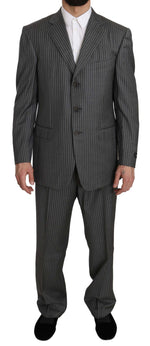 Ermenegildo Zegna Wool Gray Striped 2 Piece Suit