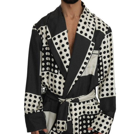 Dolce & Gabbana SILK Robe Nightgown Black White Polka