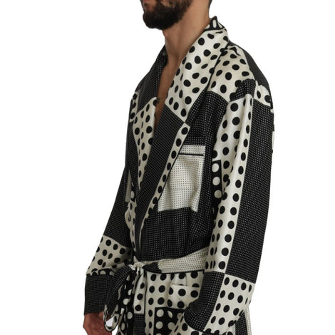 Dolce & Gabbana SILK Robe Nightgown Black White Polka - Men - Apparel - Lingerie And Sleepwear - Pajama Sets - Dolce & Gabbana | Gethuda Fashion