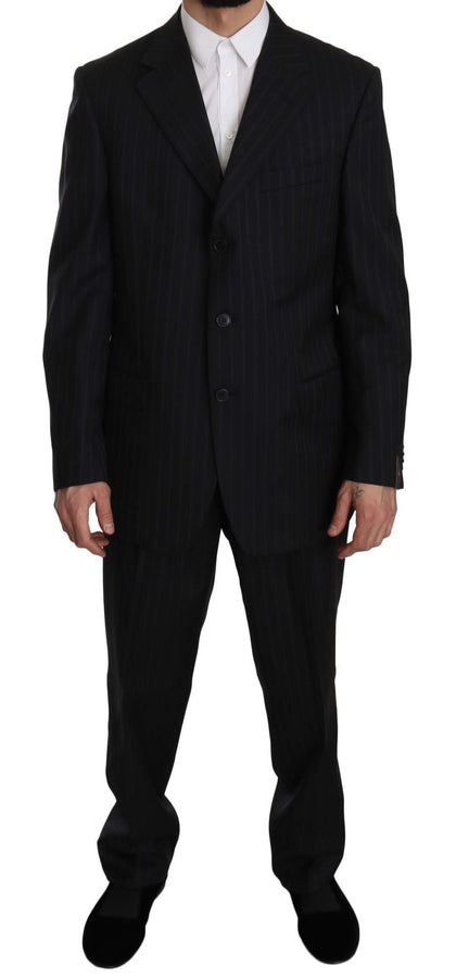 Z ZEGNA Blue Striped Two Piece 3 Button Suit