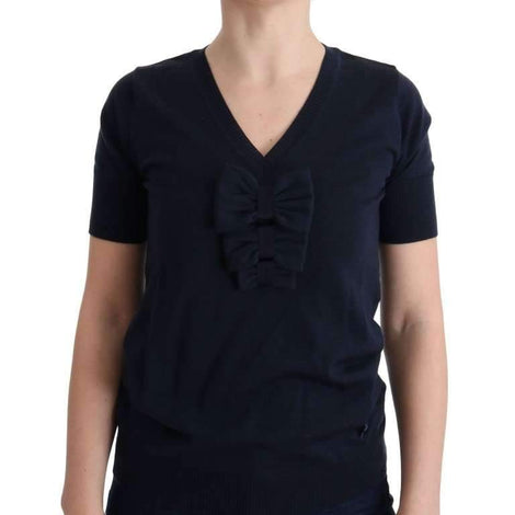 Blue 100% Lana Wool Blouse Top - Women - Apparel - Shirts - Blouses - MARGHI LO' | Gethuda Fashion