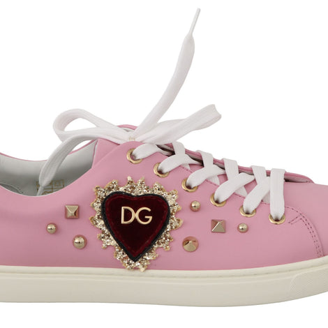 Dolce & Gabbana Pink Leather Gold Red Heart Shoes Sneakers