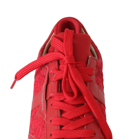 Dolce & Gabbana Red Floral Lace Leather Women Sneakers